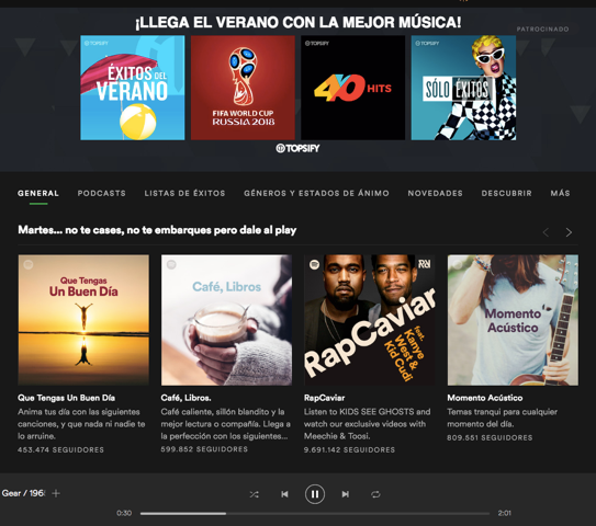 Ejemplo de Spotify Ads: Homepage Takeover