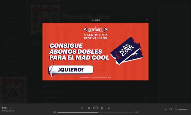 Ejemplo de Spotify Ads: Overlay